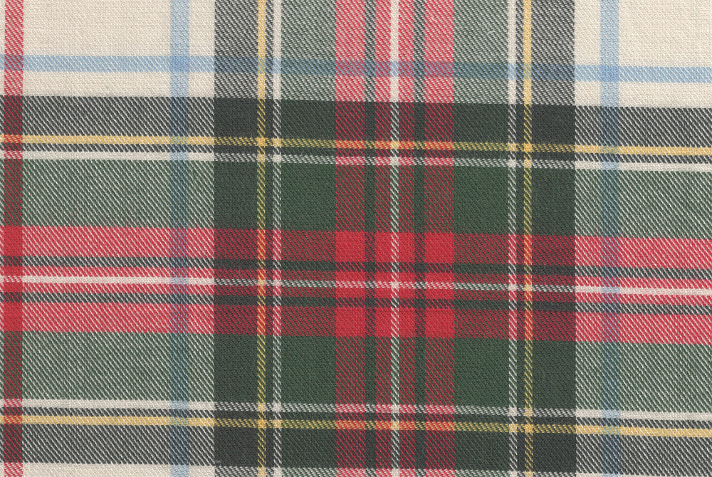 Brushed Twill - Red Green Ecru Tartan