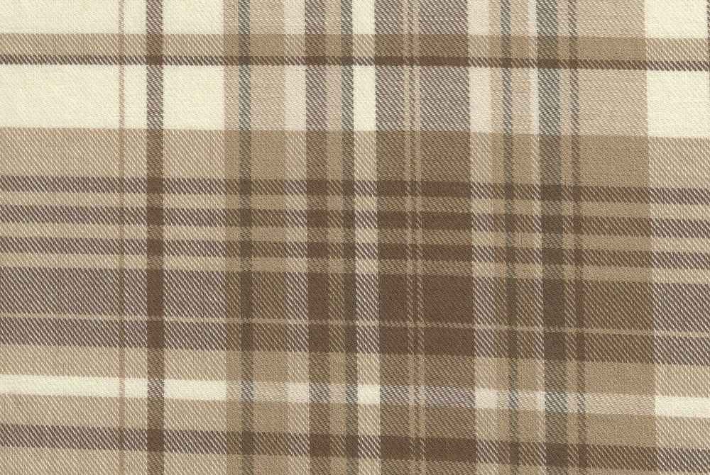 Brushed Twill - Brown Ecru Tartan