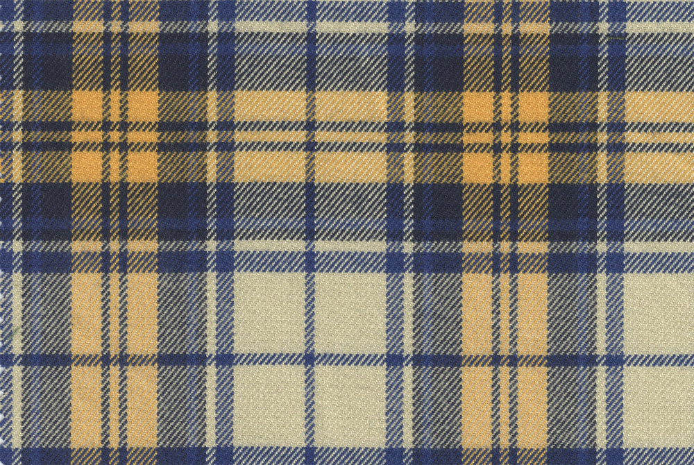 Twill Tartan Checks - Blue Yellow Ecru