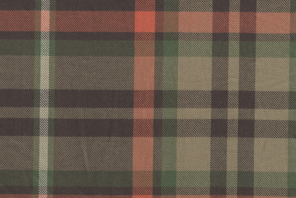 Khaki Brown Plaid Twill
