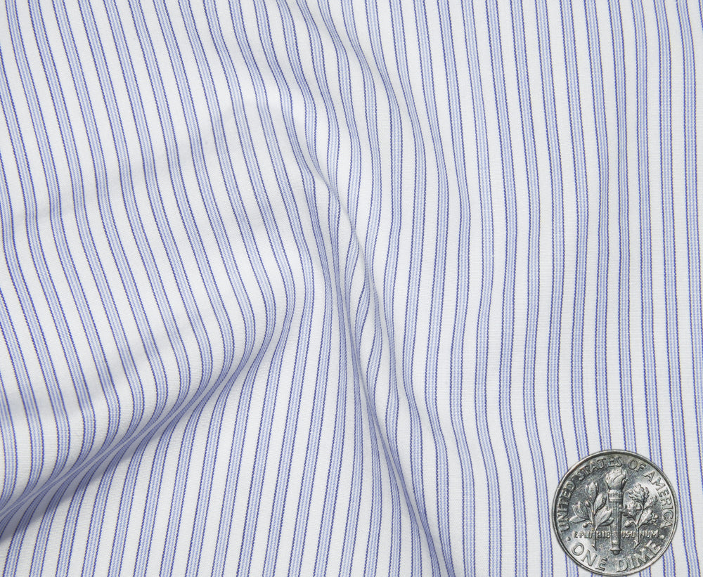 Sea Island Blue White Pin Stripes on White (297232277)