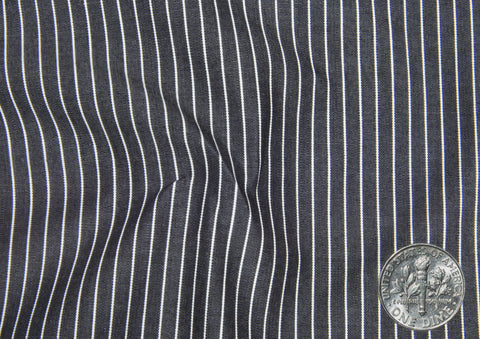 White Pin Stripes on Midnight Grey