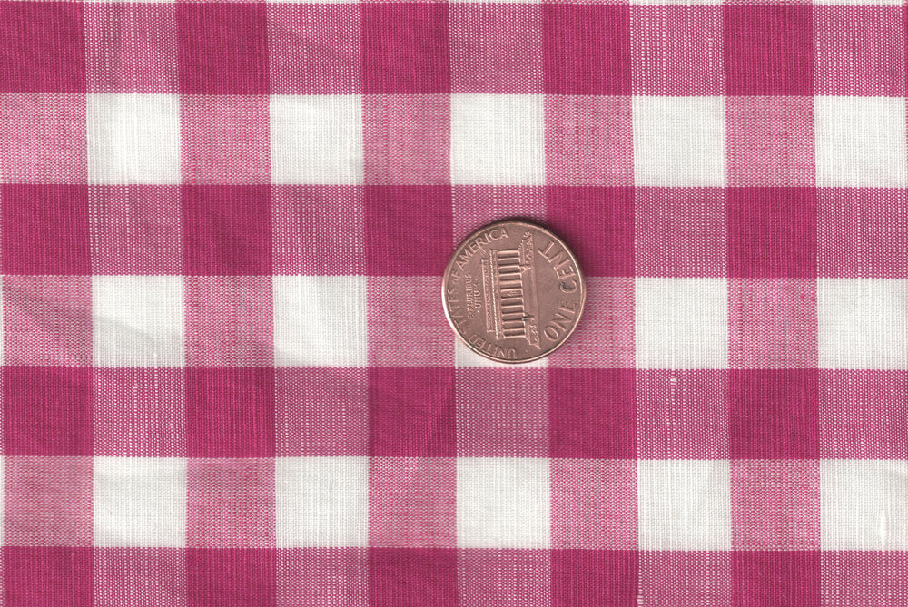 Cotton Linen - Pink White Gingham (110833751)
