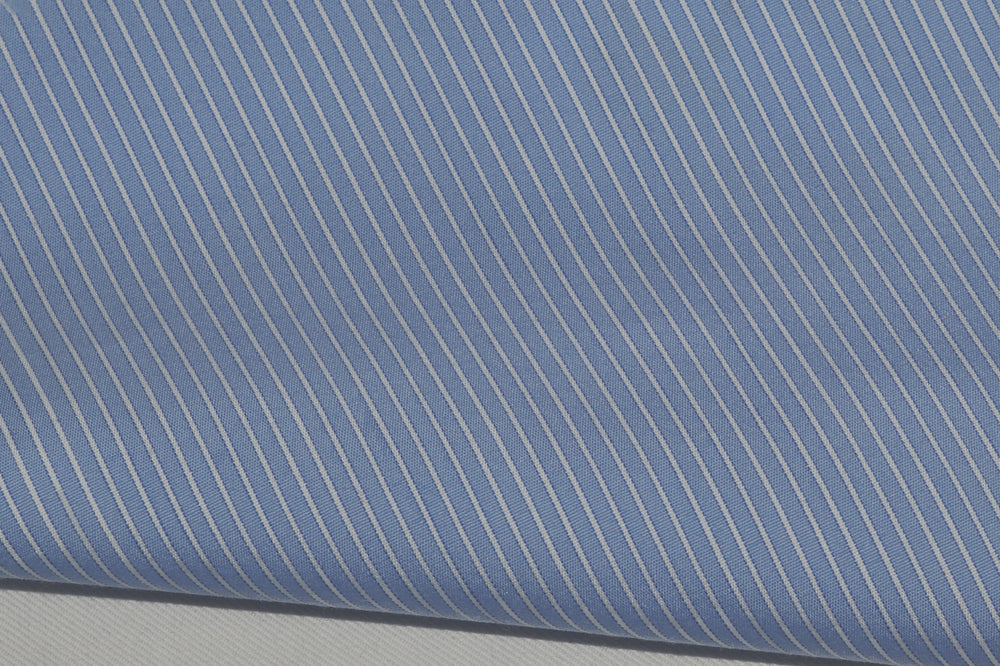 Sic-Tess White Blue Pencil-Stripes With Silk