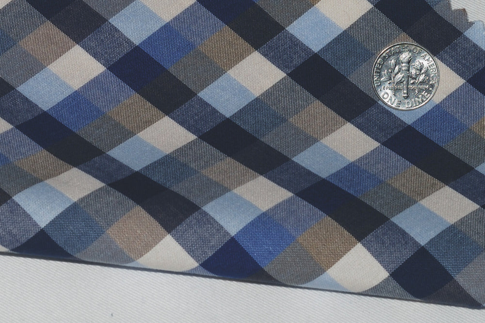 Brown Blue Navy Gingham (164177665)