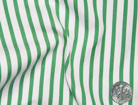 Green Dress Stripes on White Oxford