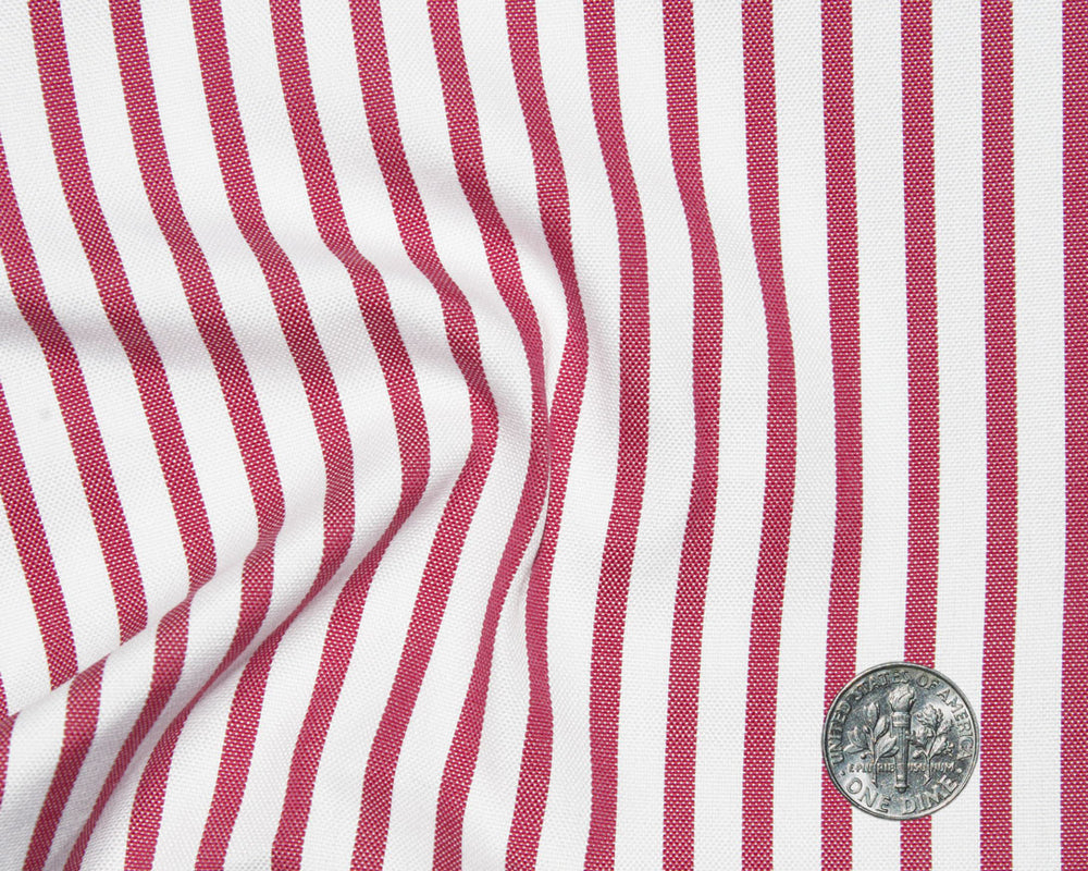 Red-Pink Dress Stripes on White Oxford