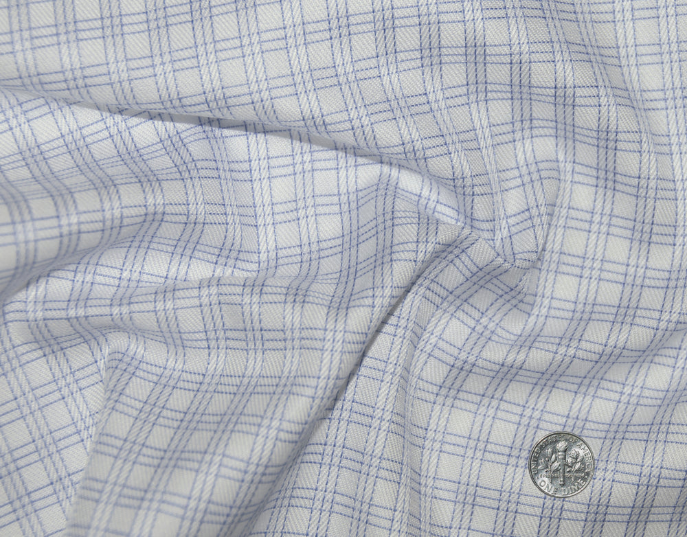 Monti Blue Pin Stripes Checks Dobby Twill (272560573)