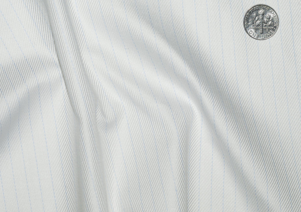 Zegna White Twill With Pale Blue HairLine Stripes (203975421)