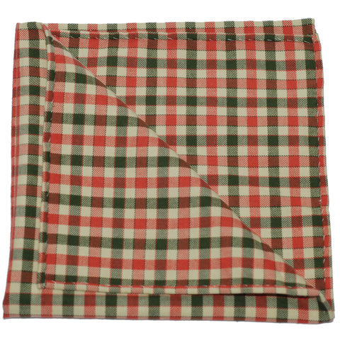 Pocket Square - Orange Green Ecru Gingham Flannel
