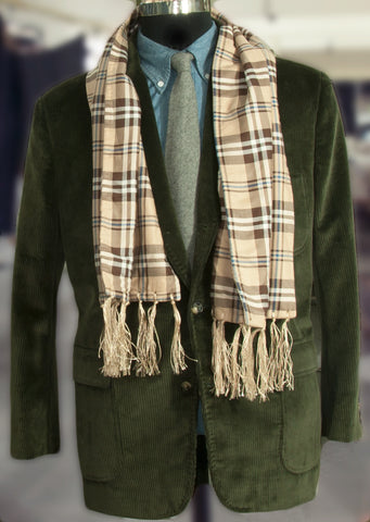 Wool Lined Cotton Scarf - Tan Checks