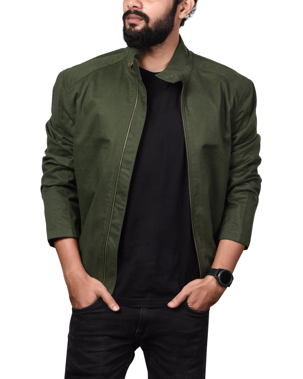 Juniper Green Cotton Twill Bomber Jacket