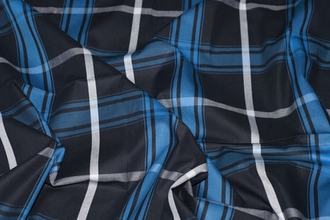 Blue Black White Large Windowpane Checks