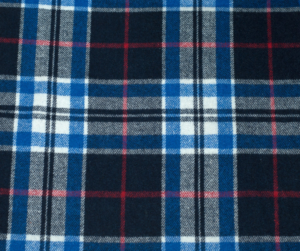 Wool Shirt: Blue Red Grey Checks