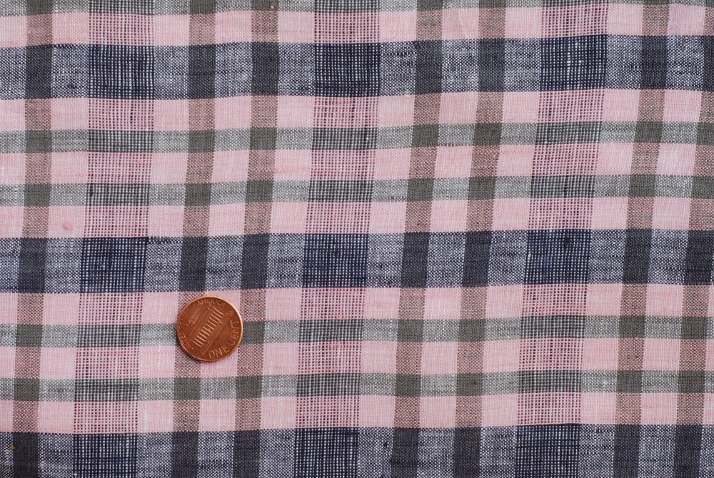 Linen - Pink Navy Checks