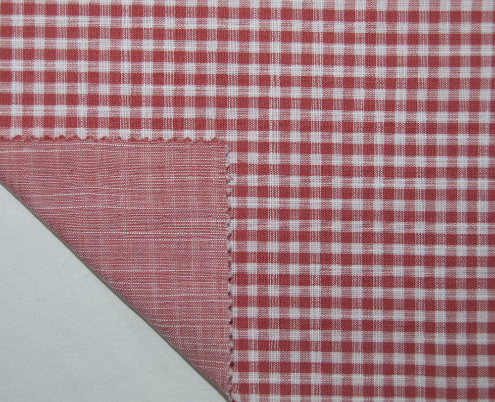 Soft Light Summer:Red White Mini Gingham Chambray