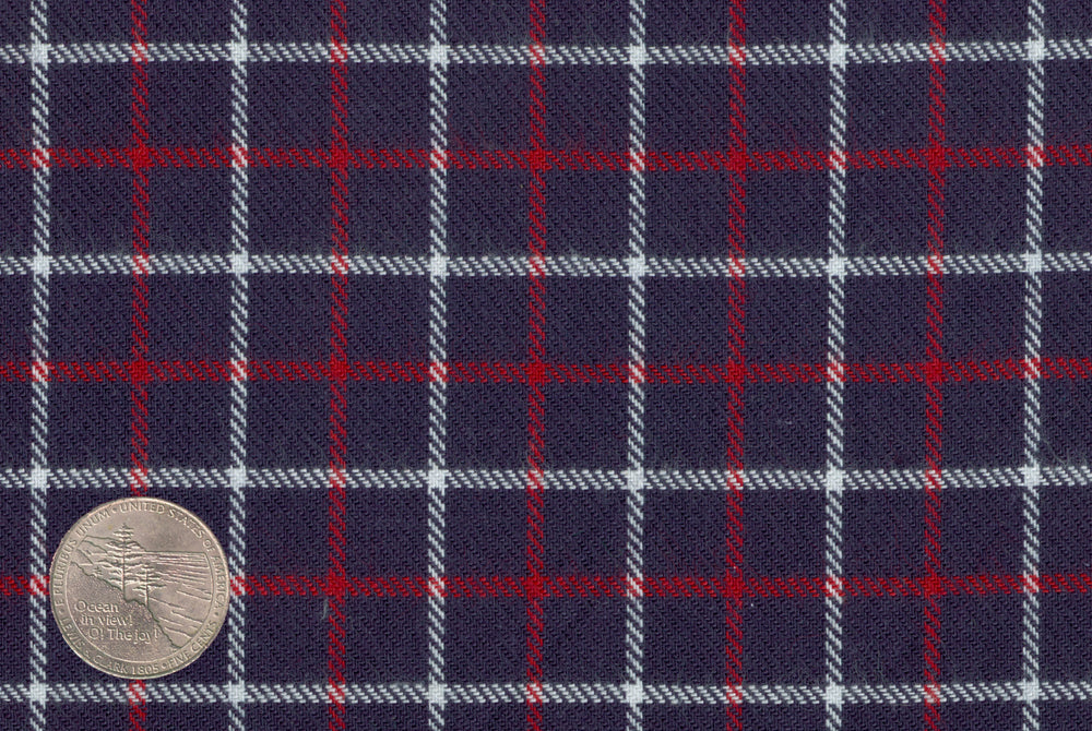 Navy Red White Tattersall Flannel