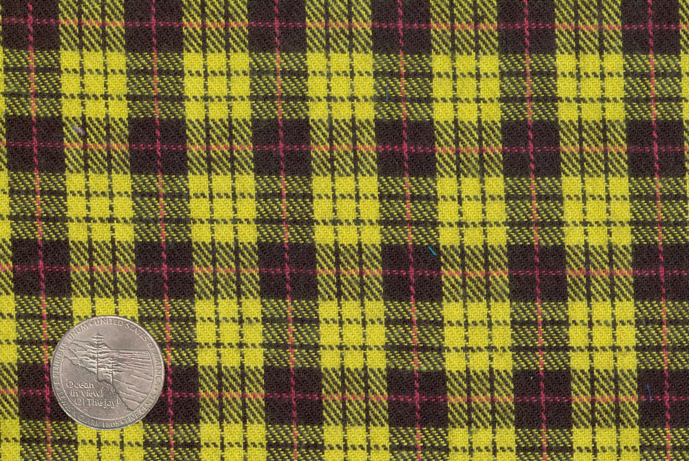 Yellow Black Tattersall Flannel