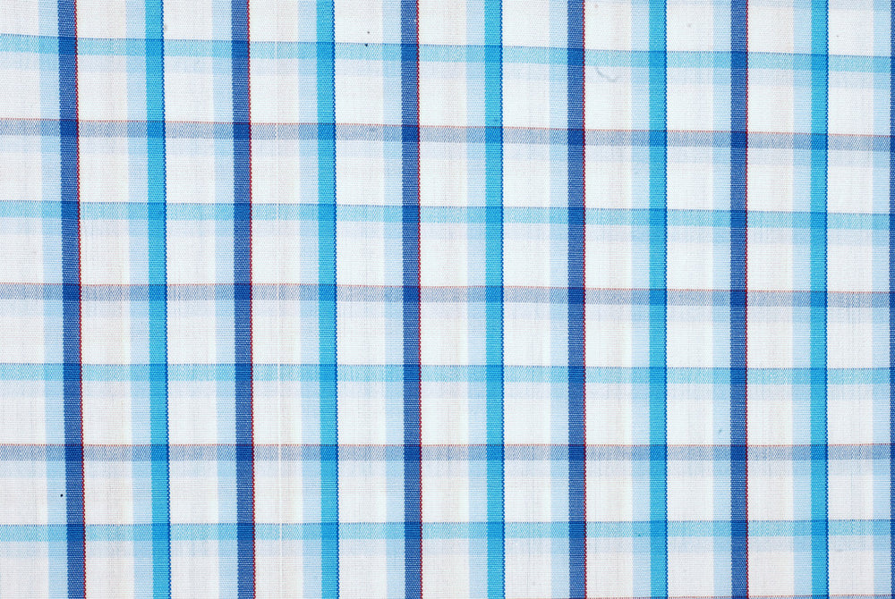 Blue Shadow Checks on White