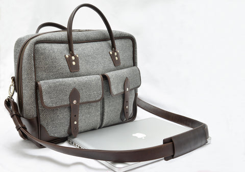 Luxire Portfolio Office Bag in Leather and Wool