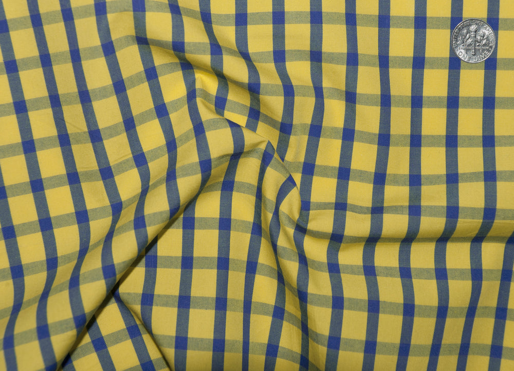 Friday Shirt:Blue Windowpane Checks On Yellow