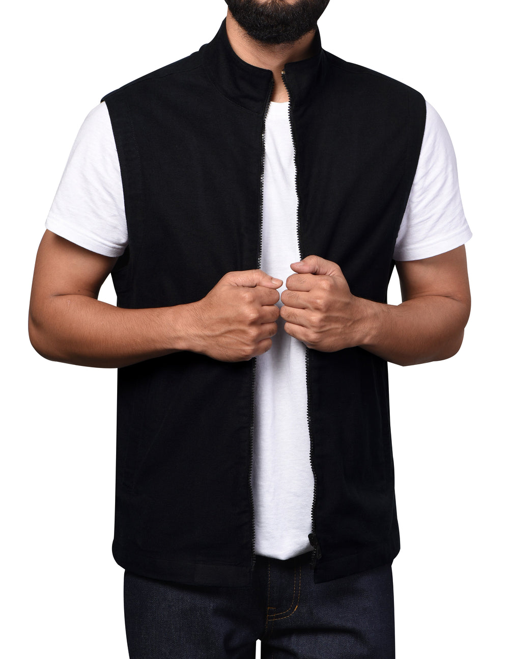 Vest in Performance Chino Black