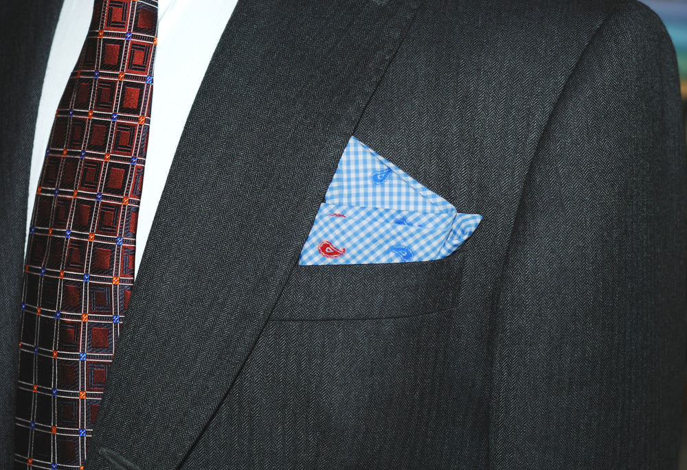 Red Blue Paisley Embroidered Pocket Square (171759497)