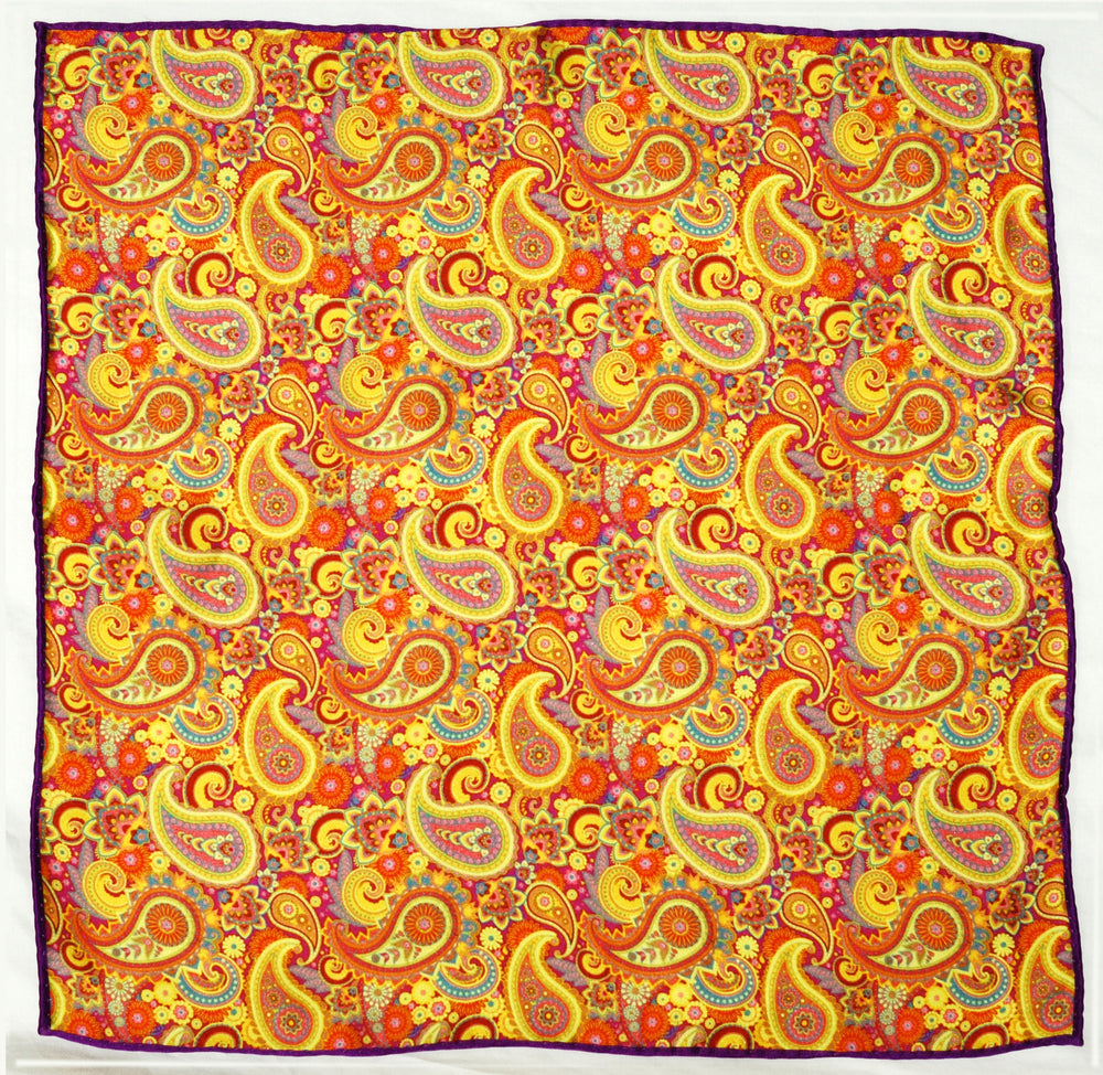 Purple Gold Paisley Pocket Square (171761505)