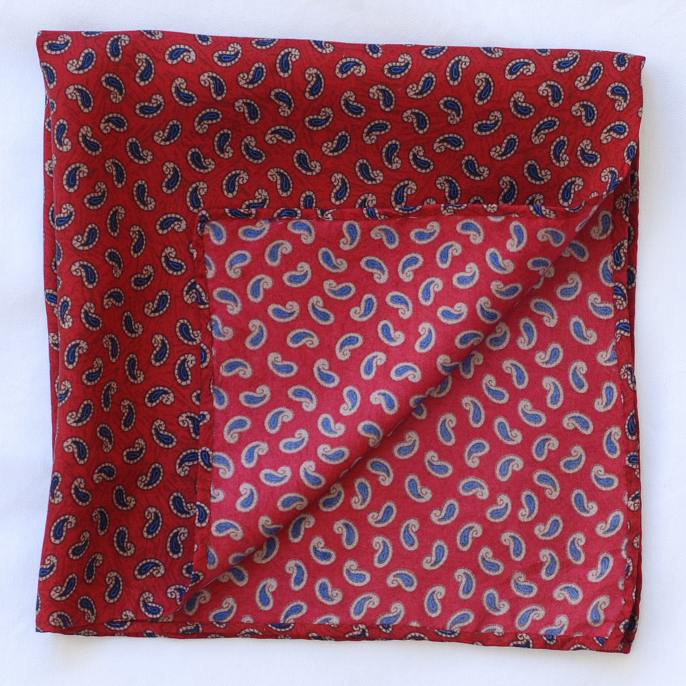 Red Paisley Pocket Square (123277520)