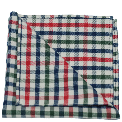 Pocket Square - Red Green Blue Gingham Flannel