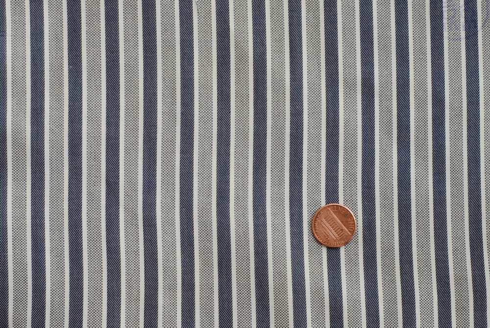 Easy-to-Iron Grey Blue White stripes