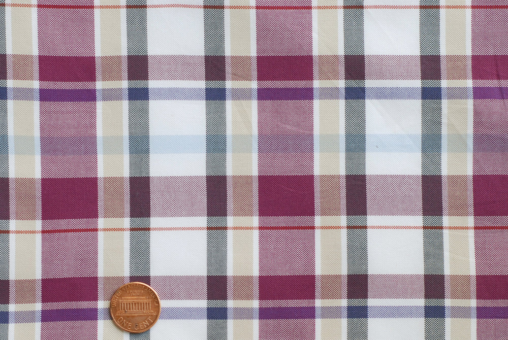 Easy-to-Iron Maroon White Ecru Oxford Checks