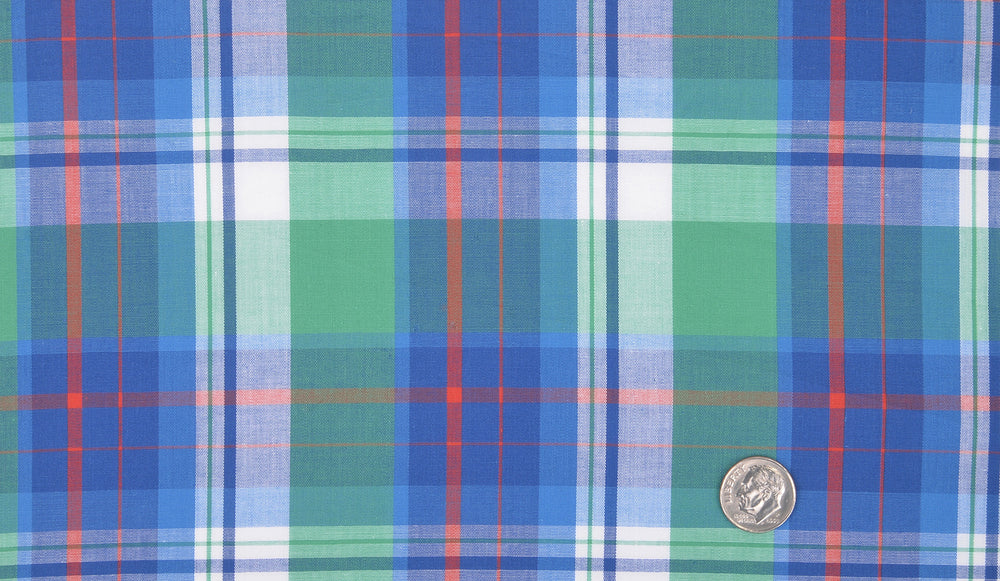 Green Blue Orange Madras Checks