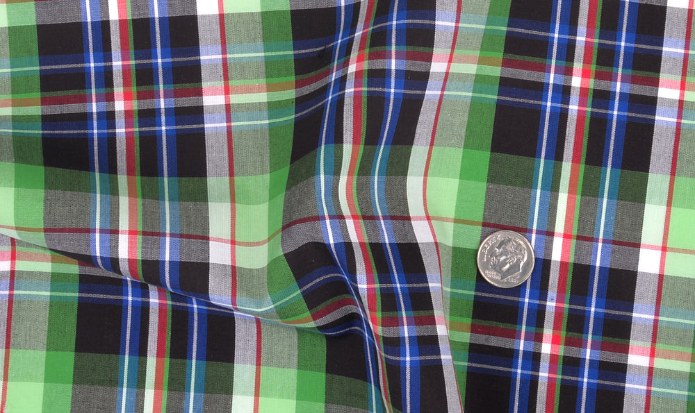 Green Black Blue Madras Checks