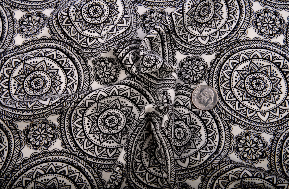 Black Round Rangoli Print On Cream T-shirt