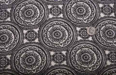 Black Round Rangoli Print On Cream Jersey