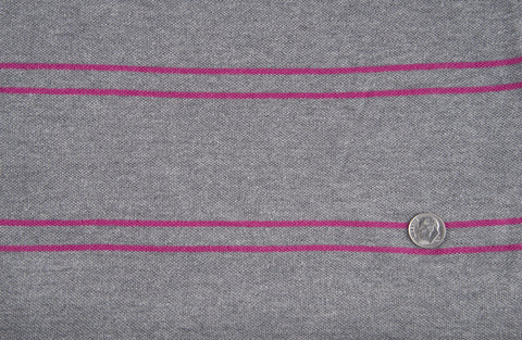 Grey Fuchsia Stripes Pique