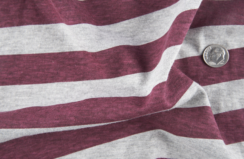 Maroon Grey Awning Stripes T-shirt