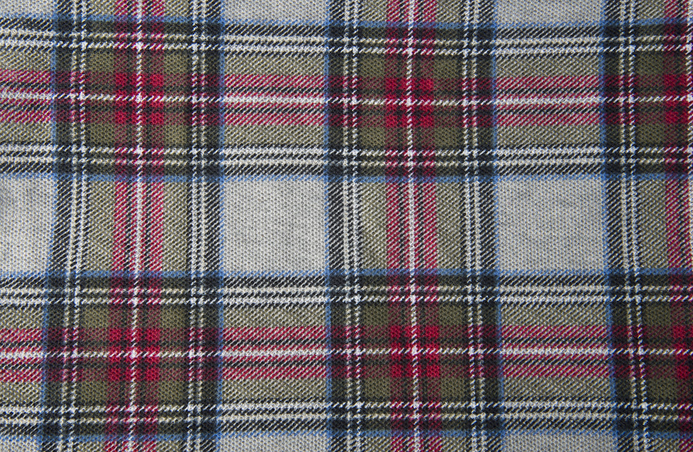 Maroon Olive Plain Checks On Grey