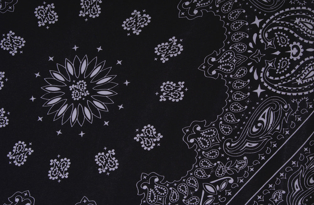 White Paisley Print On Black T-shirt