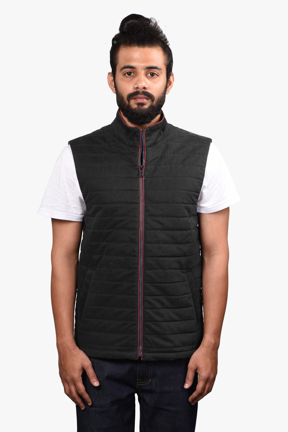 Quilted Gilets in Performance Merino: Charcoal Grey Twill