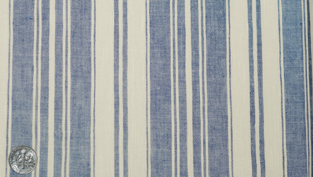 Linen Cotton: Oxford Ecru Indigo Stripes