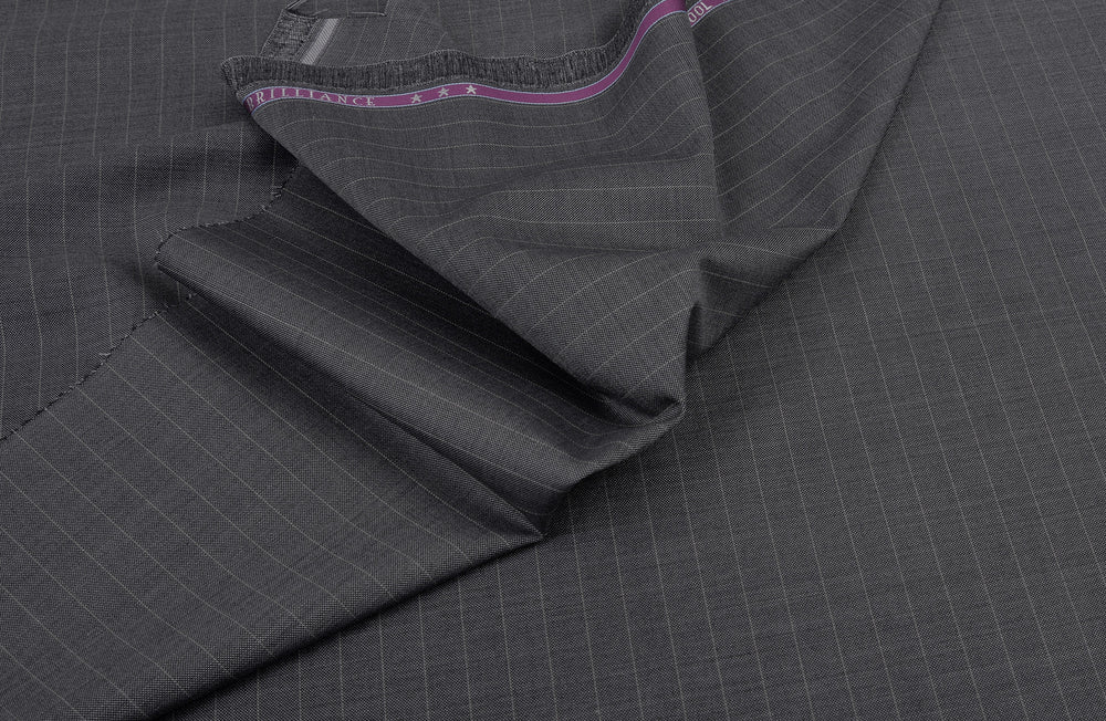 Vitale Barberis Canonico- Silver Pin Stripes On Silver-grey Wool