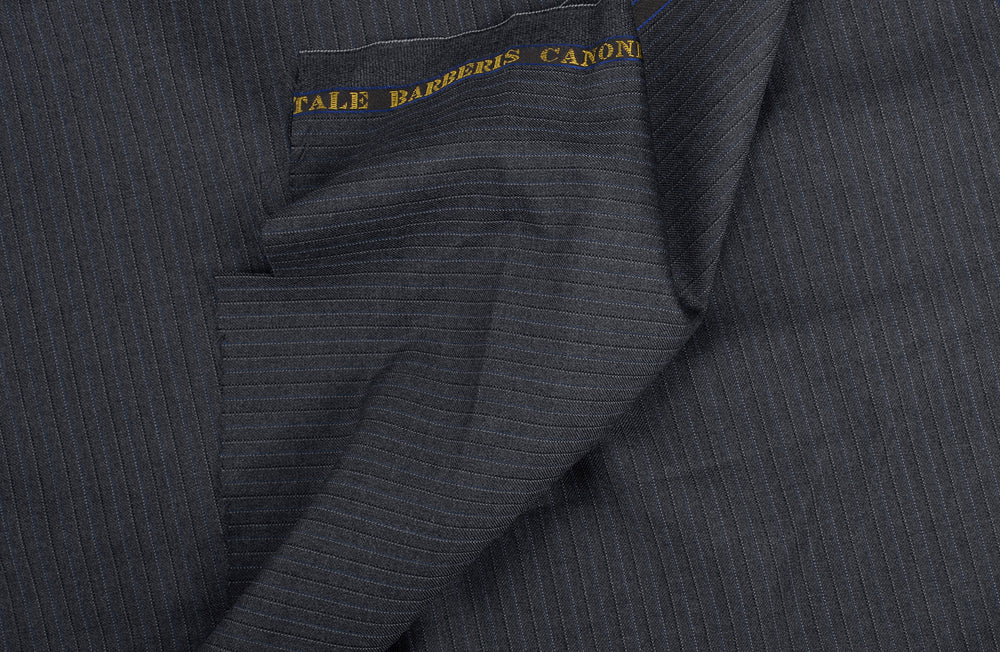 Vitale Barberis Canonico- 110s Blue Black Pin Stripes On Mid-grey Twill