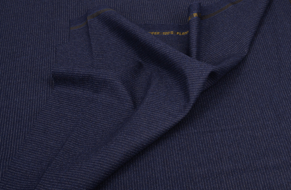 Vitale Barberis Canonico- 120s White Pin Stripes On Navy Flannel