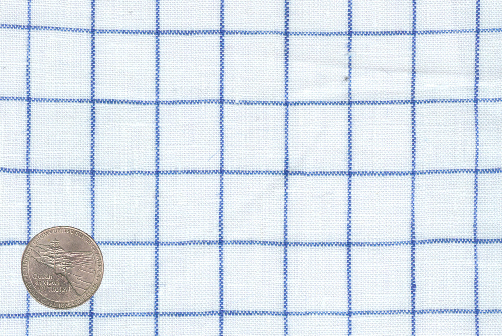 White Blue Windowpane Linen (131313589)