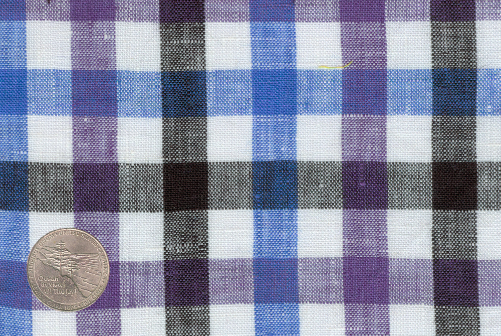 Purple Blue Black Gingham Linen