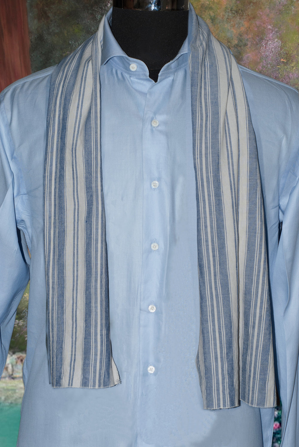 Ivory Blue Stripes Cotton Scarf