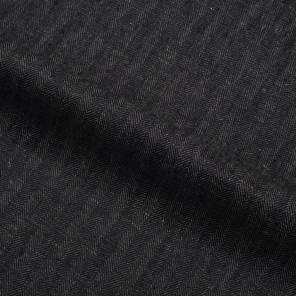 Black Herringbone Cotton Linen