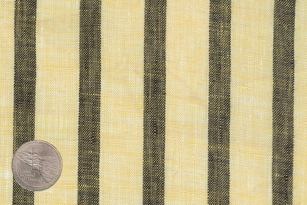 Yellow Grey Stripes Linen